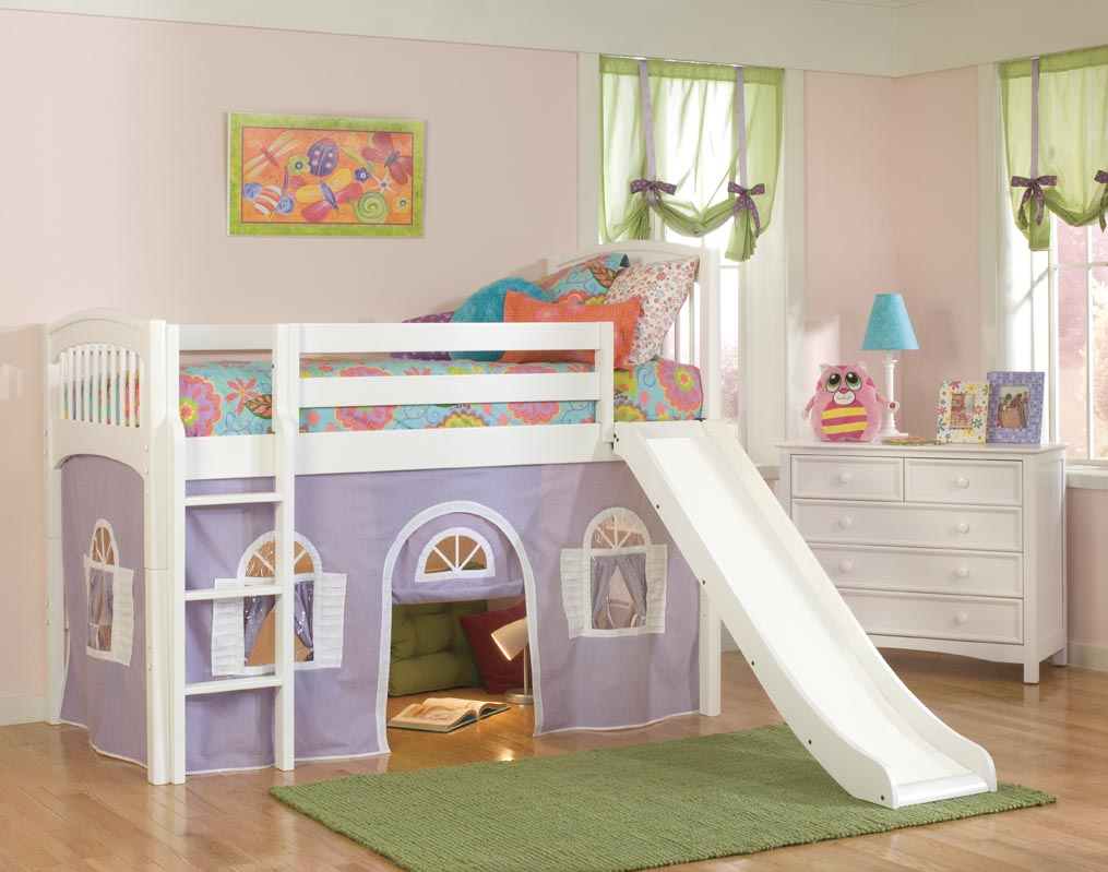 Girl Kids Loft Bed with Slide 1015 x 799