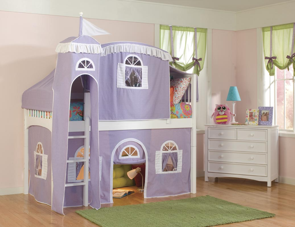 Bolton Kids Windsor Castle Loft Bed (purple/white on white)