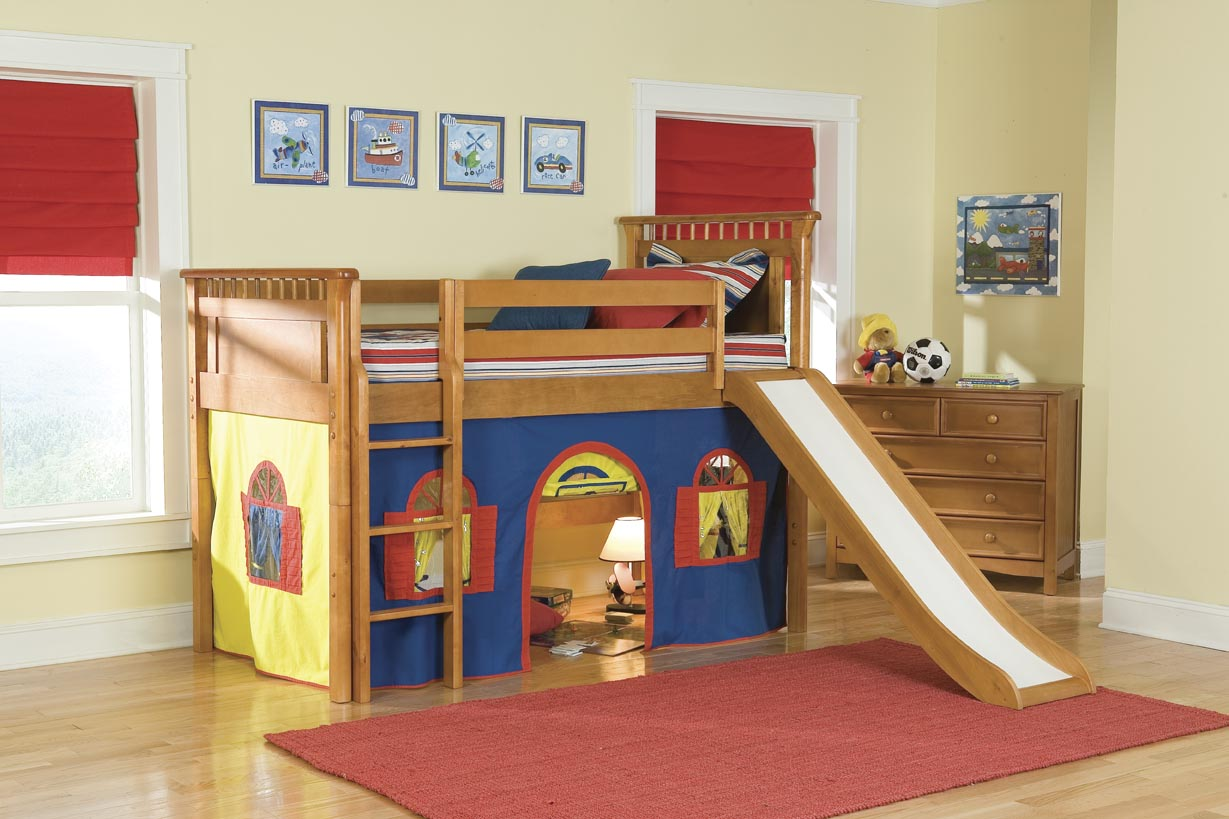 Bolton Kids Bennington Loft Bed w/ Slide (red/blue/yellow on honey)