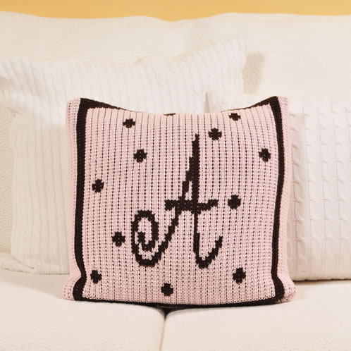 Personalized Pillow with Large Polka Dots and Border (Thin Inner) Thumbnail 1