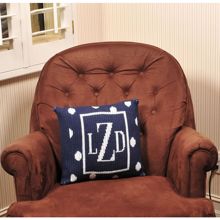 Personalized Pillow with Large Polka Dots and Border (Thin Inner) Thumbnail 2