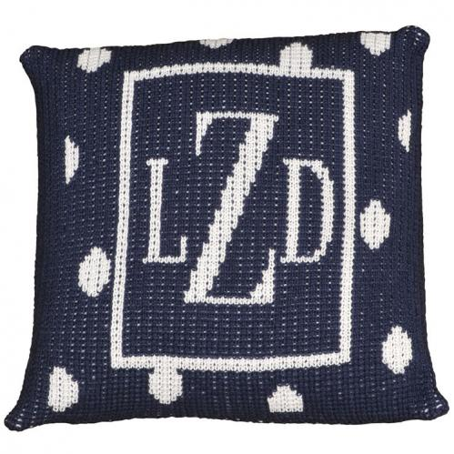 Personalized Pillow with Large Polka Dots and Border (Thin Inner) Thumbnail