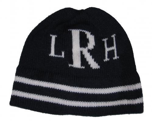 Monogrammed Knit Hat with Stripes (shown in black) Thumbnail ... 57181abd3b4c