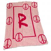 Personalized Stroller Blanket with Floating Peace Signs and Name