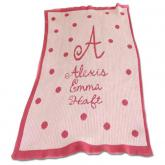Personalized Stroller Blanket with Precious Polka Dots and Name