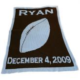 Personalized Stroller Blanket with Football, Name and Birthdate
