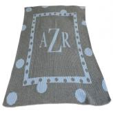 Large Polka Dot Stroller Blanket Personalized with Monogram or Name