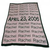 Personalized Blanket with Repeated Name and Birthdate