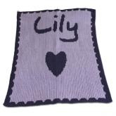 Personalized Blanket with Name and Heart and Scalloped Edge