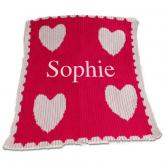 Personalized Stroller Blanket with Name and Multiple Hearts and Scalloped Edge