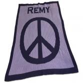 Personalized Blanket with Large Peace Sign and Name