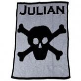 Personalized Blanket with Name and Skull and Crossbone