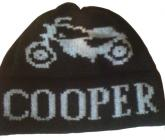 Motorcycle Sock Hat with Childs Name (shown in grey on black)