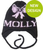 Knit Hat with Girls Name, Bow and Earflaps