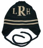 Monogrammed Knit Hat with Stripes and Earflaps