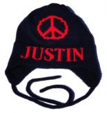 Kids Knit Peace Sign Hat with Earflaps
