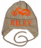 Motorcycle Skull Cap with Name and Earflaps