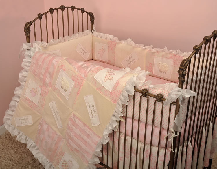 Pink and Cream Crib Bedding by Cotton Tale Designs