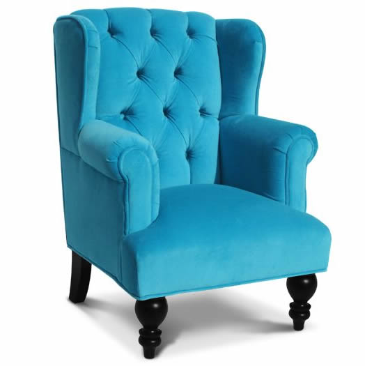 Parker child chair in aqua velvet - Sofa azul turquesa ...