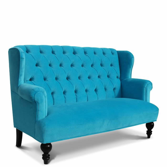Parker Child Sofa In Aqua Velvet