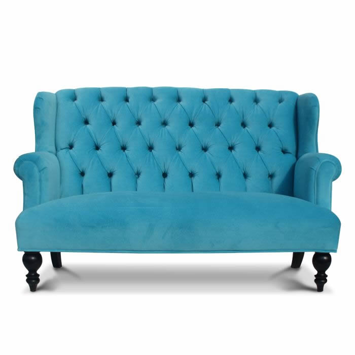 Parker Child Sofa In Aqua Velvet Thumbnail 1