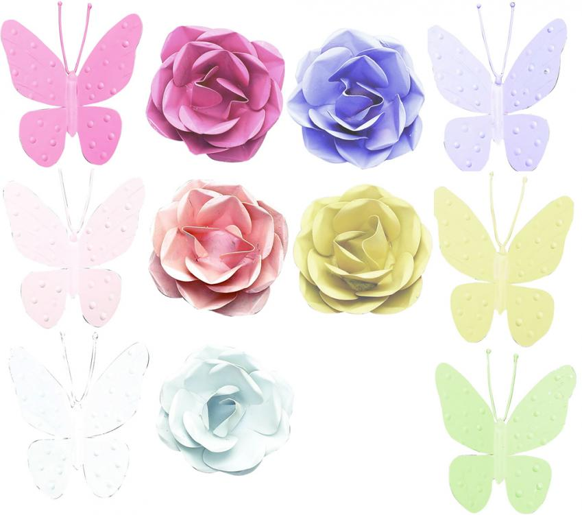 5-Arm Ivory Chandelier (optional Butterfly Shades) Thumbnail 1