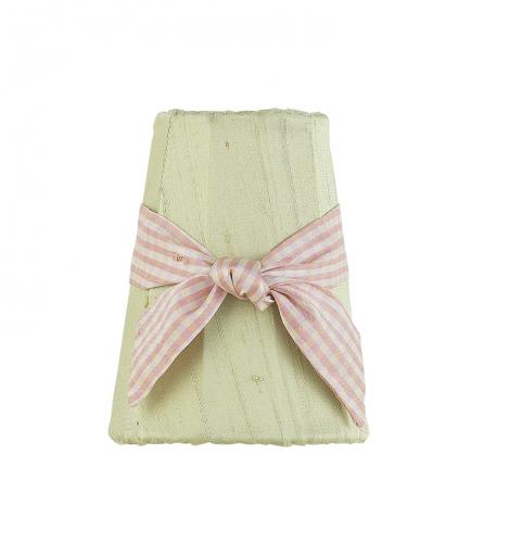 Sage Green Sconce Shade with pink check sash by Jubilee