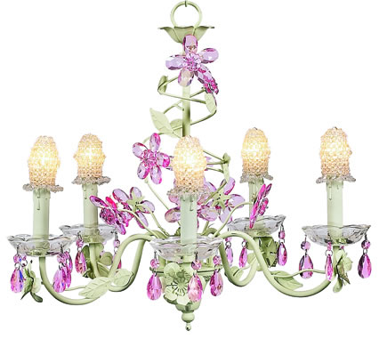 5-Arm Soft Green Crystal Flower Chandelier (optional Clear ...