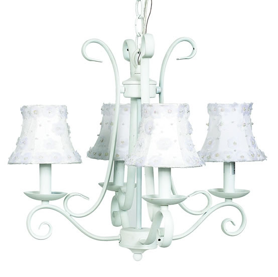 White harp chandelier optional white shades - White chandelier with shades ...