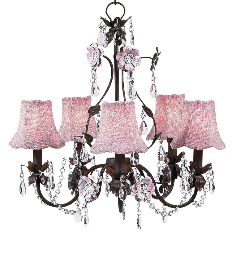 5 Arm Flower Garden Pink And Brown Chandelier Optional Beaded Shades