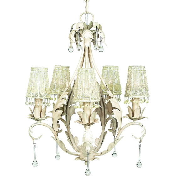 Ethan Allen Chandelier Shades - Silk, Pleated, Ribbon  Pearl Fans