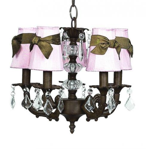 5-Arm Chandelier in Mocha (optional Pink Shades)