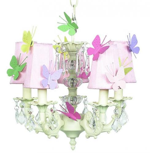 5-Arm Ivory Chandelier (optional Butterfly Shades) Thumbnail