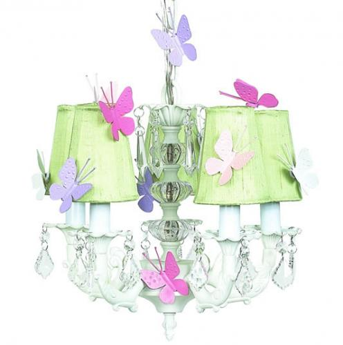 White 5-Arm Chandelier (optional Butterfly Shades)