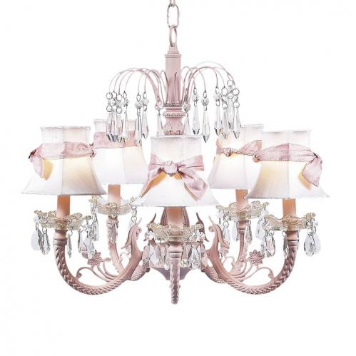 Pink 5-Arm Waterfall Chandelier (optional White/Pink Shades)