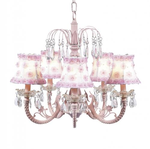 Pink 5-Arm Waterfall Chandelier (optional Pink Floral Shades)