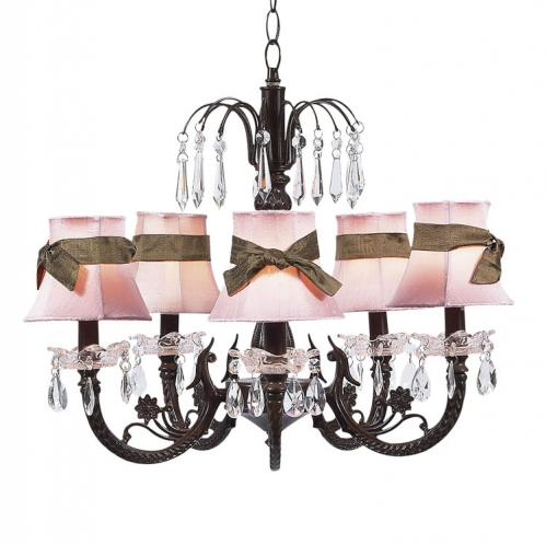 Mocha 5-Arm Waterfall Chandelier (optional Pink/Mocha Shades)