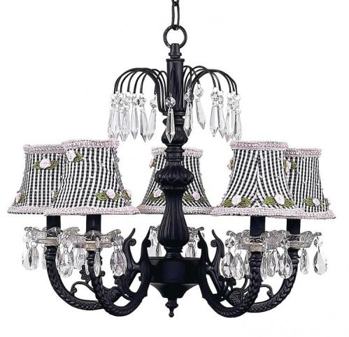 Black 5-Arm Waterfall Chandelier (optional Gingham Shades)