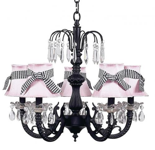 Black 5-Arm Waterfall Chandelier (optional Pink/Gingham Shades)