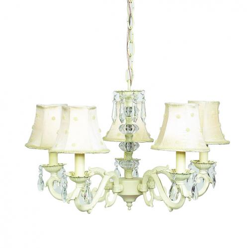 Ivory 5-Arm Glass Turret Chandelier (optional Ivory Shades)