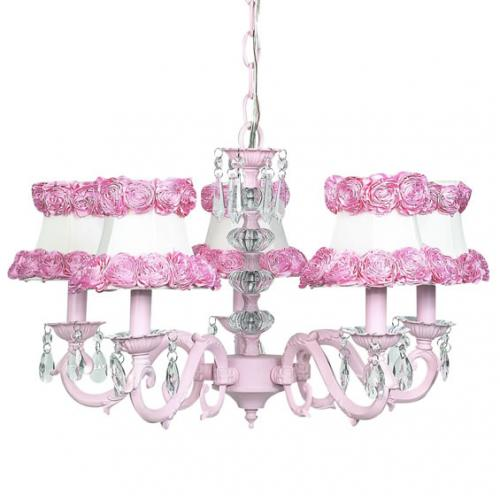 Pink 5-Arm Glass Turret Chandelier (optional Floral Shades)