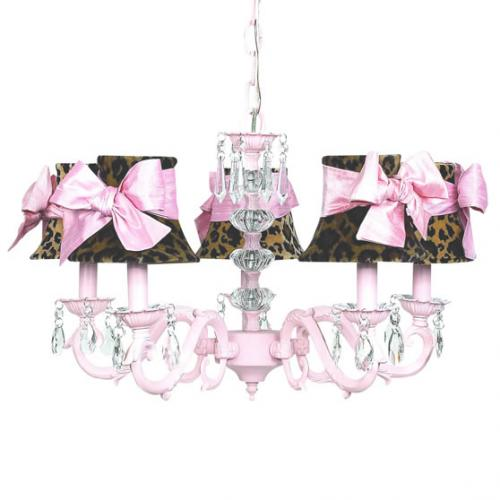 Pink 5-Arm Glass Turret Chandelier (optional Cheetah Shades)