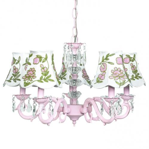 Pink 5-Arm Glass Turret Chandelier (optional with Pink Floral Shades)