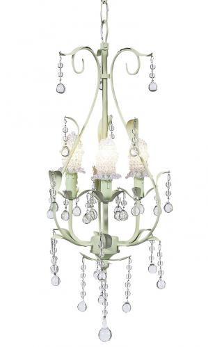 Soft Green Pear 3-Arm Chandelier (optional Clear Bulb Covers)