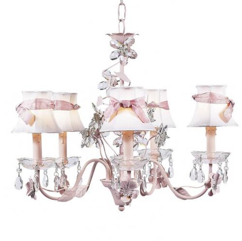 3-Arm Pink Crystal Flower Chandelier (optional White/Pink Shades)
