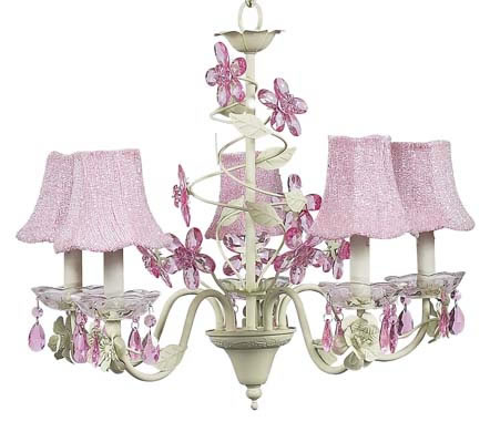 5-Arm Soft Green Crystal Flower Chandelier (optional Pink Beaded Shades)