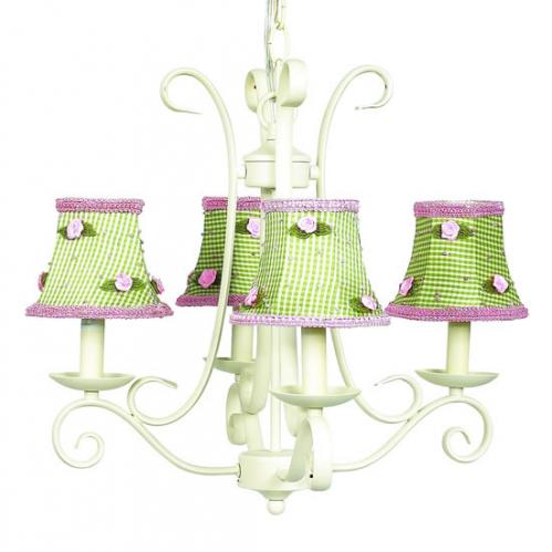 4-Arm Ivory Harp Chandelier (optional Gingham Shades)