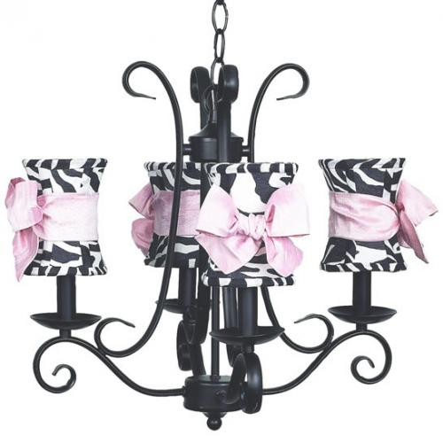 4-Arm Black Harp Chandelier (optional Zebra Shades)