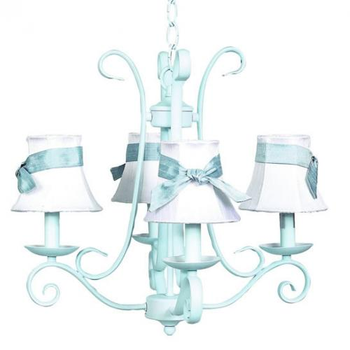 Blue Harp 4-Arm Chandelier (optional White/Blue Shades)