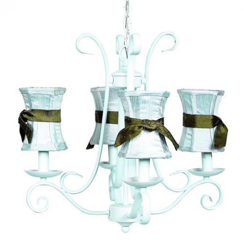 4-Arm Blue Harp Chandelier (optional Blue/Brown Shades)